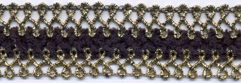 "1"" Metallic/Chenille Braid-Antique Gold/Black Combo"