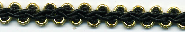 "1/4"" Metallic/Rayon Gimp Knit-Gold/Black Combo<br>$0.05 per yard, see Special Pricing Tab"