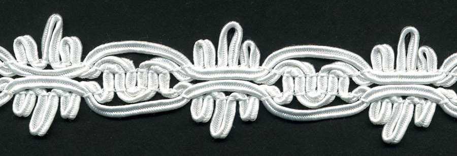 "1.25"" Wide Poly Knit Soutash Braid-White"