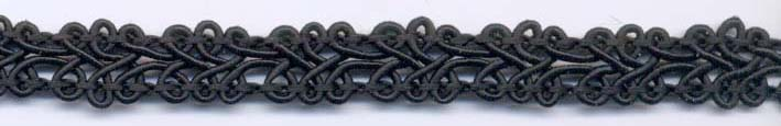 "7/16"" Wide Rayon Knit Braid-Black<br>see Special Pricing Tab"