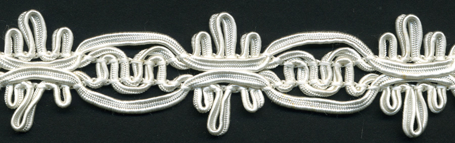 "1+1/4"" Rayon Knit Soutash Braid-White<br>see Special Pricing Tab"