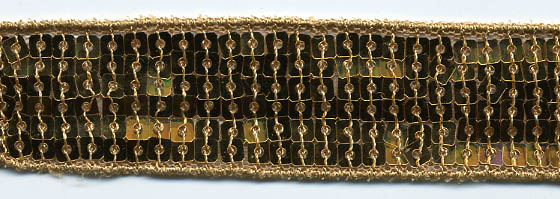"1"" Wide ""6 Row Square"" Sequin Braid-Gold<br>$0.12 per yard, see Special Pricing Tab"