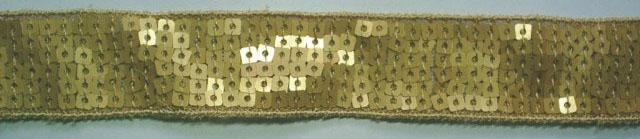 "1"" Wide ""6 Row Square"" Sequin Braid-Matte Gold<br>$0.12 per yard, see Special Pricing Tab"