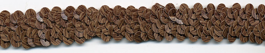 "1"" Wide ""2 Row"" Stretch Sequin Knit Braid-Dark Wood Look<br>$0.05 Per Yard, see Special Pricing Tab"