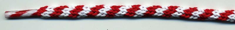 "56"" Tipped 64B Barber Pole Cord-Red and White Stripes"