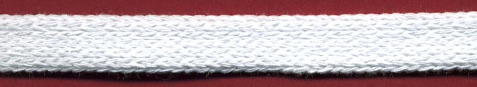"1/2"" Cotton Knit Flat Sleeving Cord-White"