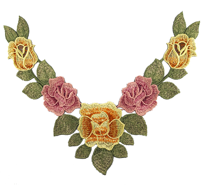 Embroidered Rose Collar Applique-Yellow/Salmon/Green