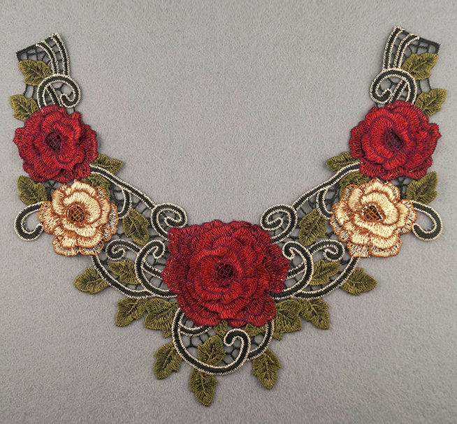 Embroidered Rose Collar Applique-Red/Yellow/Green