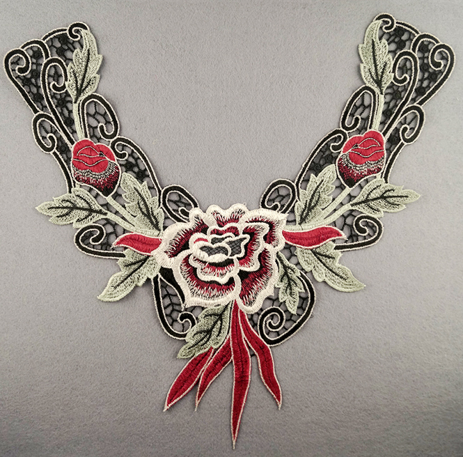 Embroidered Rose Collar Applique-Red/Green/White/Black