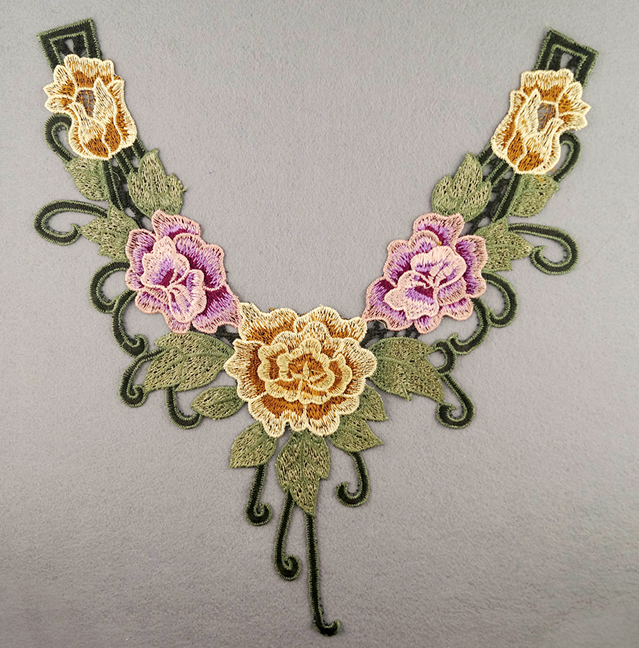 Embroidered Rose Collar Applique-Yellow/Pink/Green