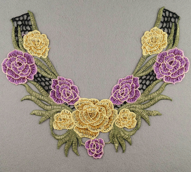 Embroidered Rose Collar Applique-Yellow/Lillac/Pink/Green