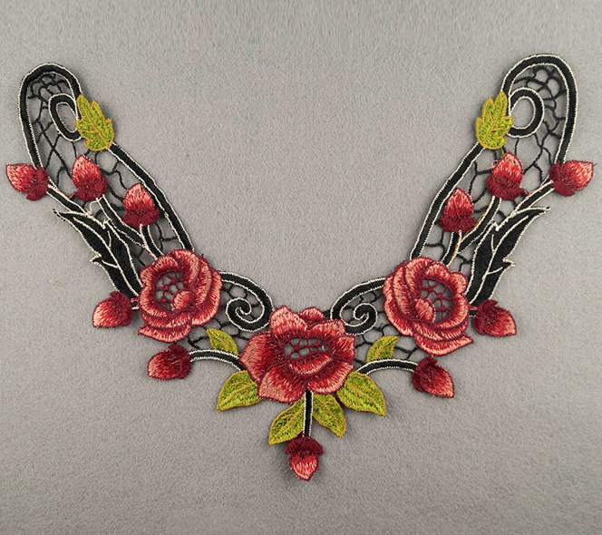 Embroidered Rose Collar Applique-Crimson/Red/Black/Light Green