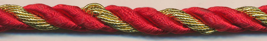 "3/8"" 2-ply Rayon/1-ply Metallic Cable Cord-Red/Gold"