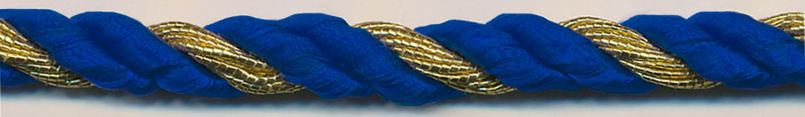 "3/8"" 2-ply Rayon/1-ply Metallic Twisted Cable Cord-Royal/Gold"