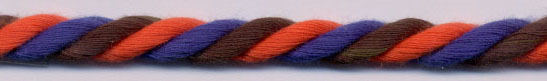 5MM 10x3 Rayon Cable Cord-Orange/Navy/Brown Combo