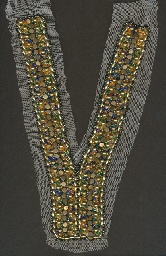 """Y"" Crystal and Beaded Mesh Collar-Antique Gold"
