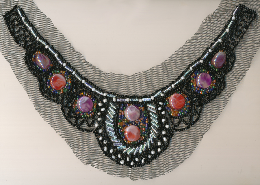 Beaded Collar Applique-Crimson/Red/Black/Light Green