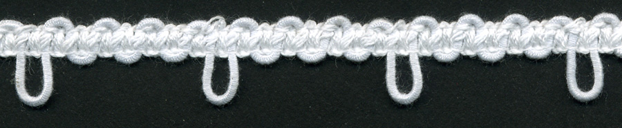 "1"" Spaced Cotton Elastic Button Loops-White"