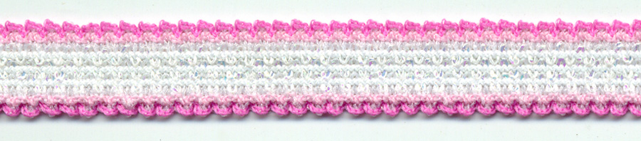 "7/16"" K-Pop Elastic-Hot Pink/White Iridescent Combo<br>$0.02 per yard, see Special Pricing Tab"