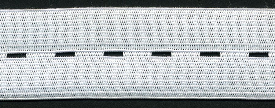 "7/8"" Wide Button Hole Elastic-White"
