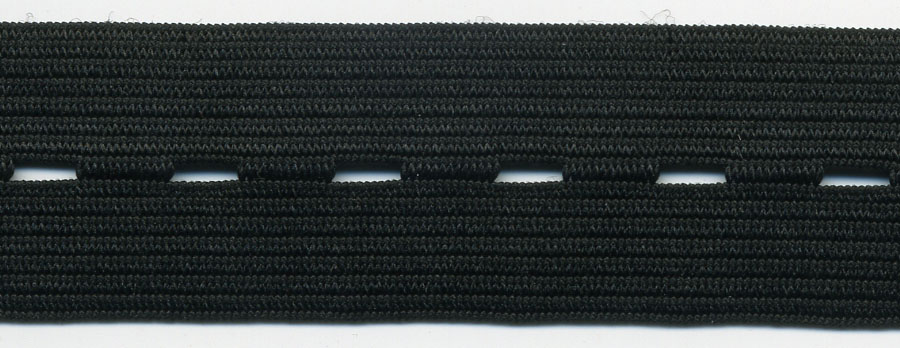 "7/8"" Wide Button Hole Elastic-Black"