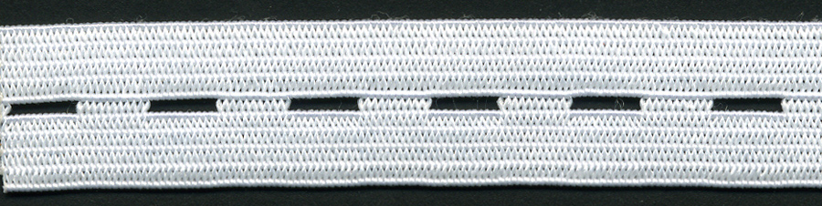 "<font color=""red"">IN STOCK</font><br>5/8"" Wide - 14"" Length<br>Hotcut Button Hole Elastic-White"