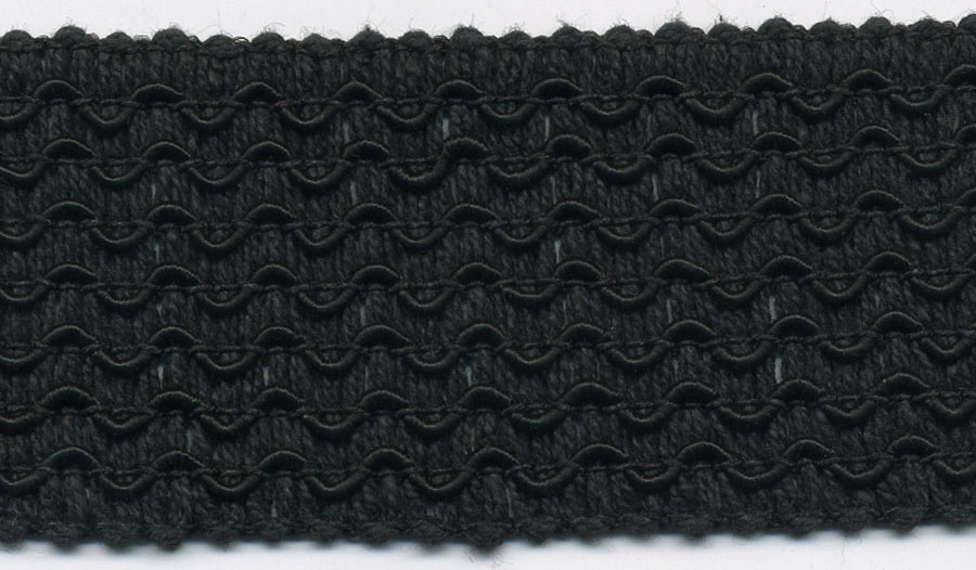 "1.5"" Knitted Wave Rayon/Cotton Elastic-Black"