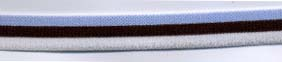 "1/2"" Poly Tristripe Elastic-White/Brown/Blue Combo"