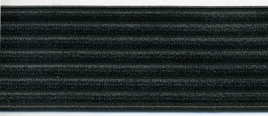 "1.5"" Poly Horizontal Rib Elastic-Black"