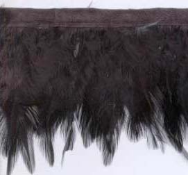 "2.5"" Feather Fringe-Black With Black Ribbon"