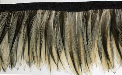 "2.5"" Feather Fringe-Ecru Brown Combo With Black Ribbon"