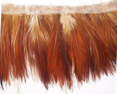 "3.75"" Feather Fringe-Rust Ivory Combo With Ivory Ribbon"