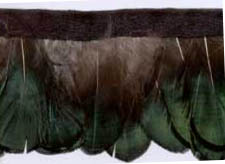 "1.5"" Feather Fringe-Green Combo With Black Ribbon"
