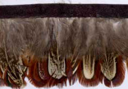 "1.5"" Feather Fringe-Brown Tan Combo With Black Ribbon"