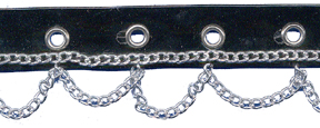 "1 3/16"" Eyelet Tape With Chain Loops-Black Tape With Nickel Chain"