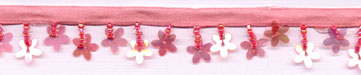 "1+1/8"" Sequin Flower And Bead Fringe-Pink With Pink Ribbon Header"