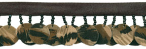 20mm Camo Sequin And Bead Disc Fringe-Camo With Camo Ribbon Header