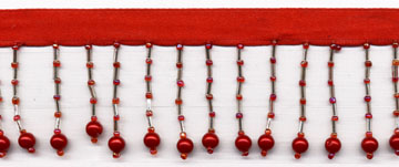 "1.5"" Beaded Fringe On Ribbon-Red Balls"