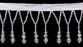 "1+3/8"" Beaded Glass Fringe On Ribbon-Pearl/Irid Combo"