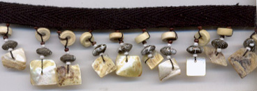 "1 3/8"" Bead And Shell Fringe On Ribbon-Natural/Beige Combo"