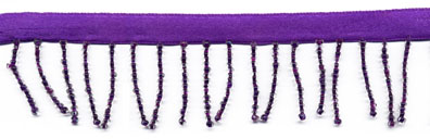 "1"" Beaded Fringe On Ribbon-Grape"