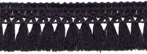 "1 3/16"" Poly Cross Flow Tassle Fringe-Black"