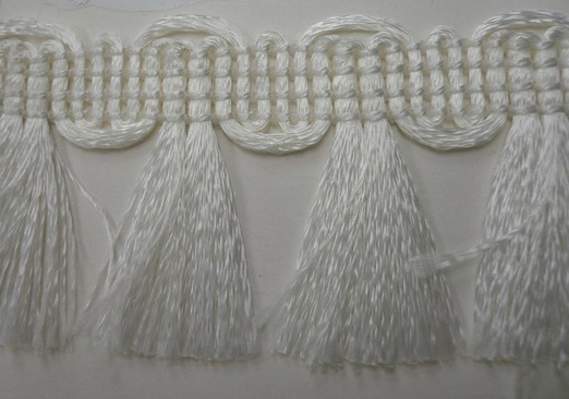 "1+3/16"" Poly Chainette Bunch Fringe-White"