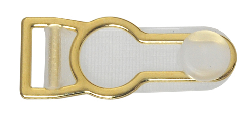 10mm Alloy Garter Clip with Clear Tongue-Gold