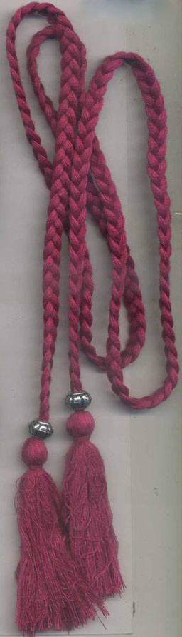 Braided Cord Tassel Belt-Red Color With Silver Beads