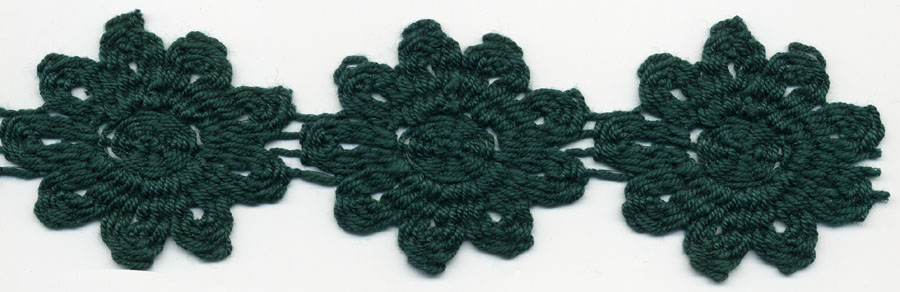 "2"" Crochet Cluny Daisy Chain Lace-Hunter Green"