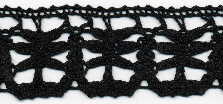 "1.75"" Cotton Cluny Edge Lace-Black"