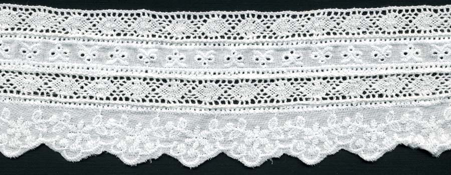 "2.75"" Cotton Cluny Edge Lace With Eyelet-White"