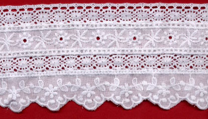 "2+7/8"" Cotton Cluny Edge Lace With Eyelet-White"