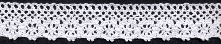 "1.25"" Cotton Cluny Floral Edge Lace-White"